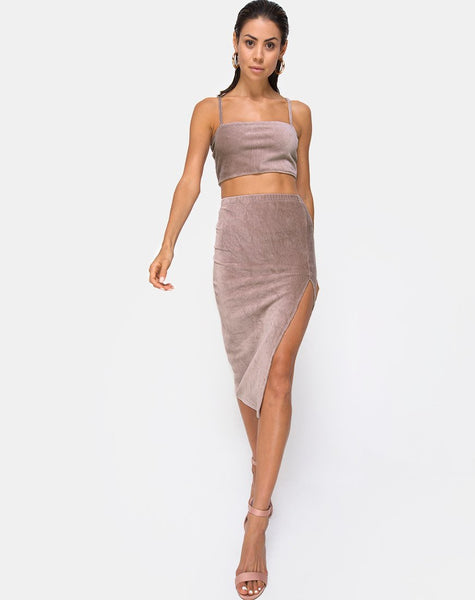 Midi Cheri Split Skirt in Rib Taupe by Motel