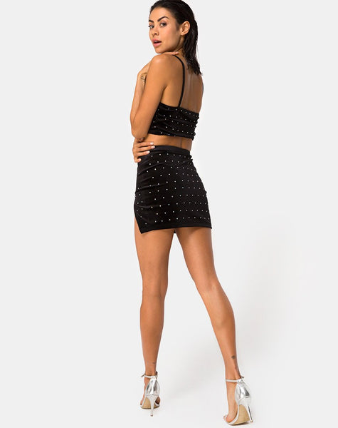 Cheri Split Skirt in Diamante Black By Motel
