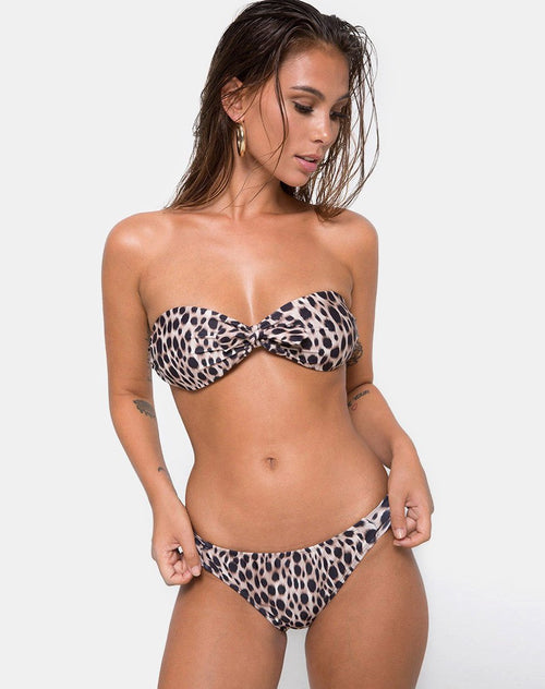 Cleo Bikini Top in Original Cheetah by Motel