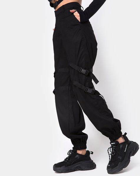 Clive Cargo Trouser in Black Buckle by Motel