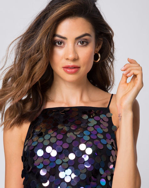 Corine Slip Dress in Black Opal by Motel