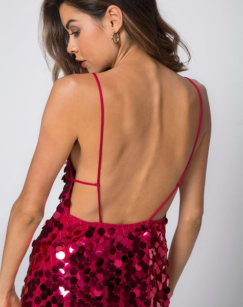 Corine Slip Dress in Red Cherry Disc Sequin by Motel