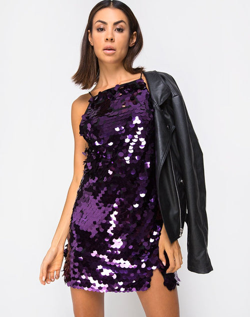 Corine Slip Dress in Plum Disc Sequin by Motel