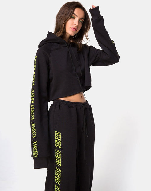 Cropped Black Hoodie in Disco Embro by Motel