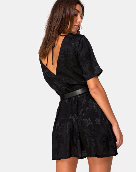 Crosena Dress in Satin Rose Black by Motel