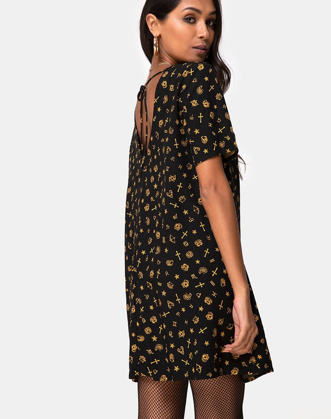 Crosena Swing Dress in Mini Astro Black by Motel