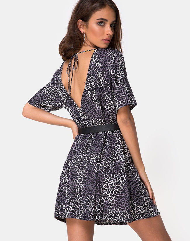 Crosena Swing Dress in Rar Leopard Grey by Motel