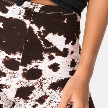 Cycle Short in Cow Hide Brown and White