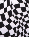 Cycle Short in Square Flag Black and White