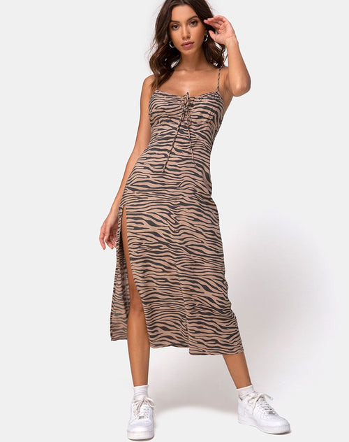 Cypress Midi Dress in 90's Zebra Taupe by Motel