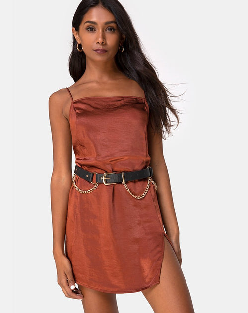 Datista Dress in Satin Dark Rust by Motel