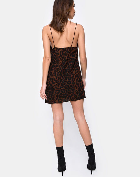 Datista Slip Dress in Oversize Jaguar Brown by Motel