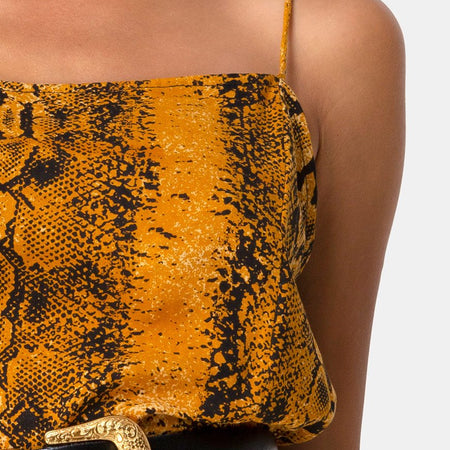 Datista Slip Dress in Snake Mustard by Motel