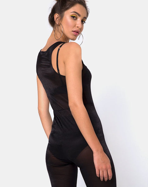 Devile Unitard in Sheer Mesh Black by Motel