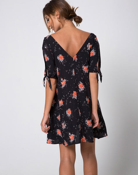 Dinda Swing Dress in Midnight Rose by Motel