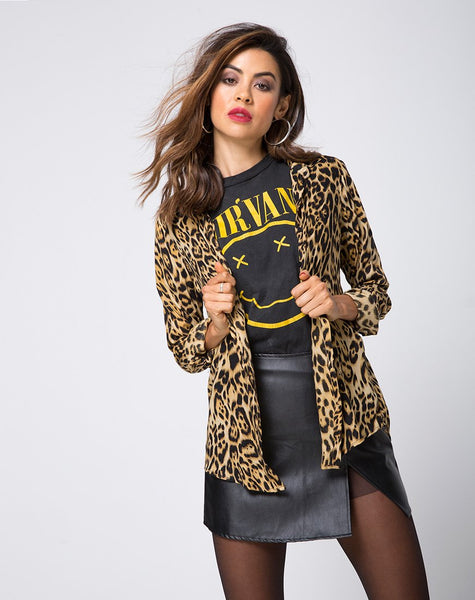 Disam Shirt in Leopard by Motel