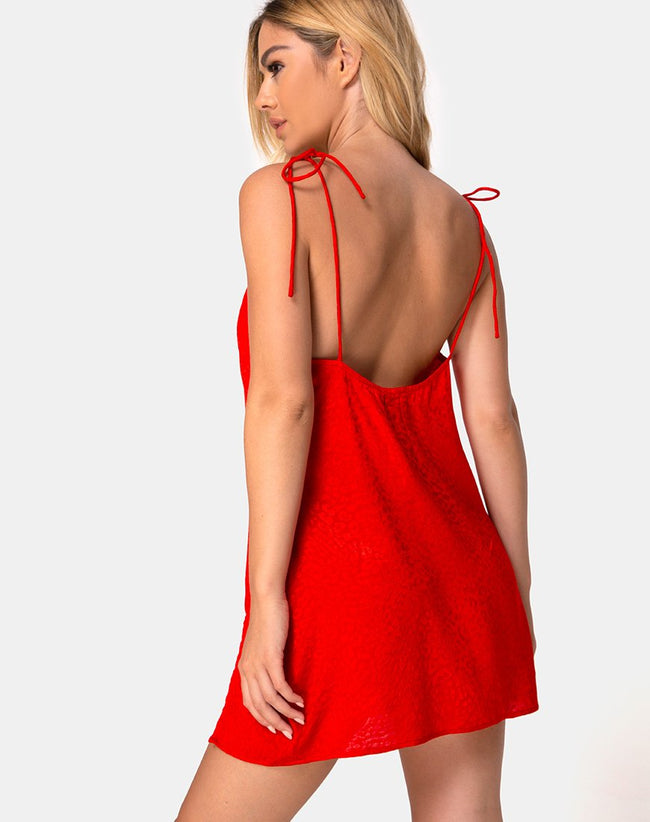 Doella Slip Dress in Satin Cheetah Red by Motel