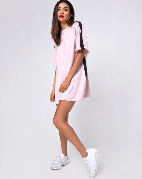 Dore T-Shirt Dress in Blush with Black Stripe by Motel