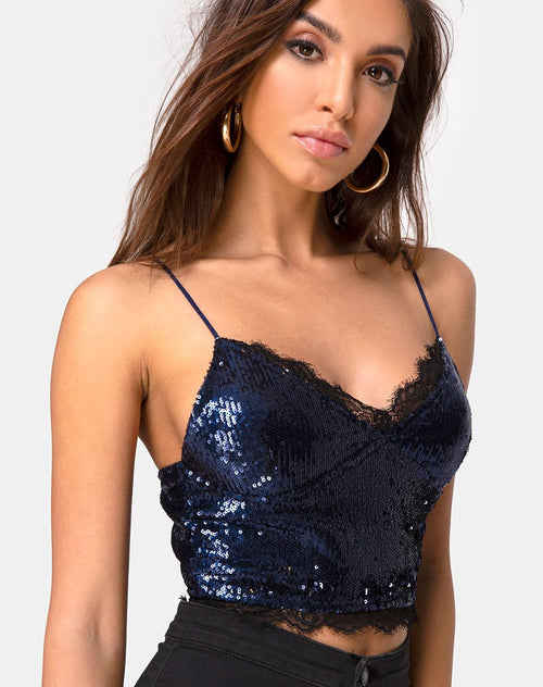 Drilly Crop Top in Midnight Mini Sequin with Black Lace by Motel