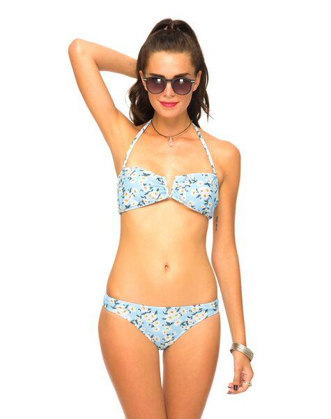 Tormaline Bandeau Bikini Top in Blue White Daisy by Motel