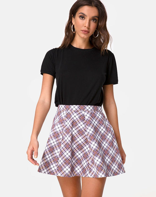 Elda Skirt in Grunge Check Purple by Motel