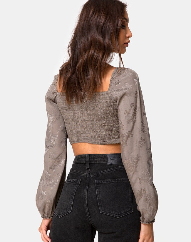Elina Top in Satin Rose Silver Grey by Motel