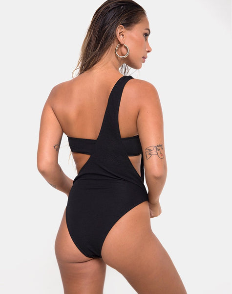 Elkin Swimsuit in Textured Black by Motel