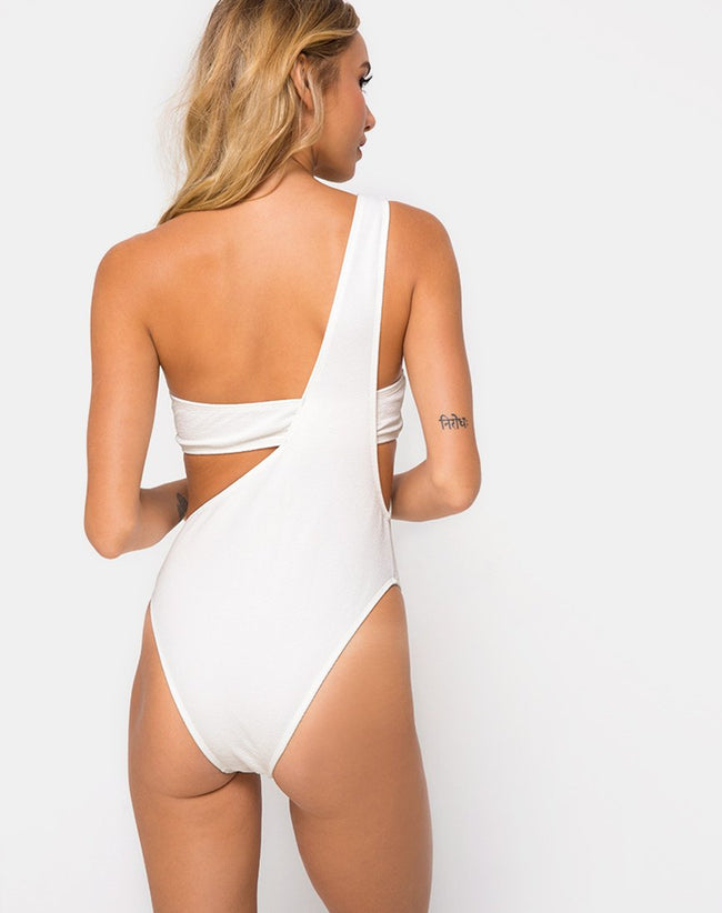 Elkin Swimsuit in Textured White by Motel
