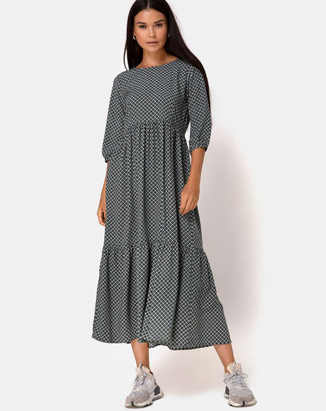 Ellery Maxi Dress in Check it Out Green by Motel