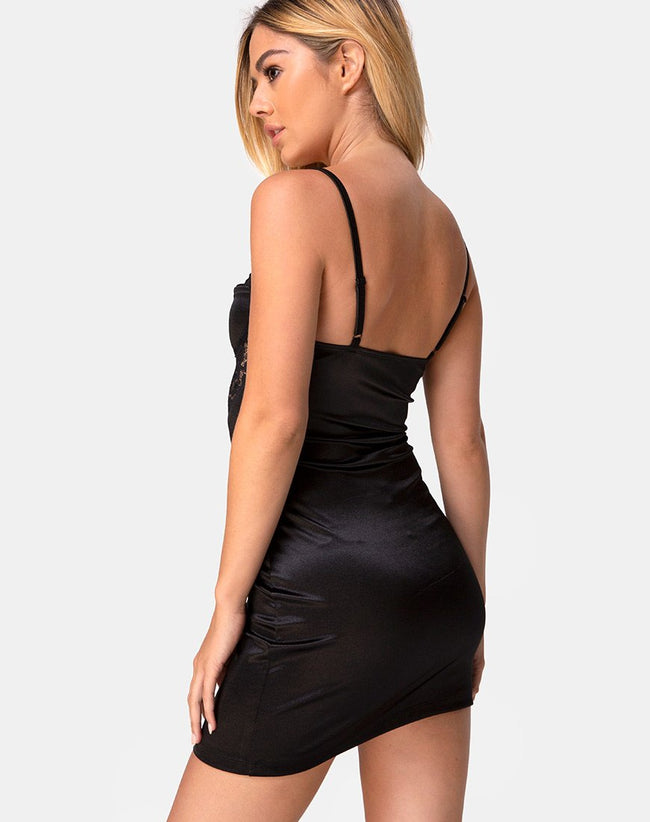 Ellis Bodycon Dress in Lace Mesh Black by Motel