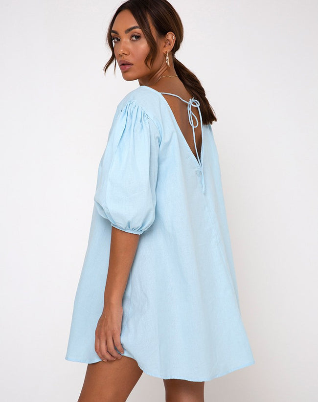 Elna Babydoll Dress in Sky Blue by Motel