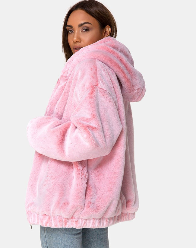 Emerson Jacket in Faux Fur Pink by Motel