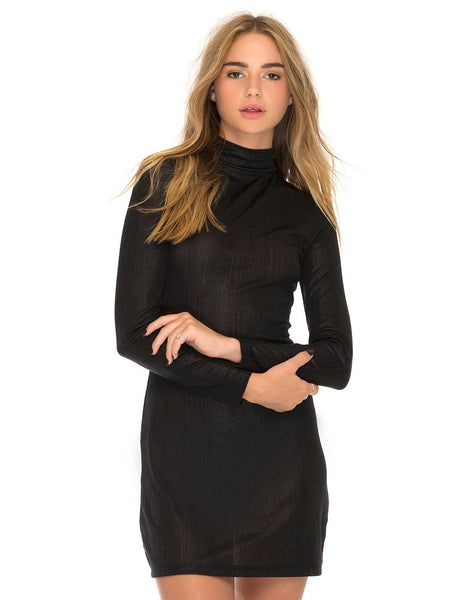 Emmet Bodycon Dress in Metallic Seattle Shimmer Black