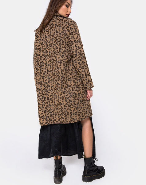 Ernest Boyfriend Coat Leopard Print Grey by Motel