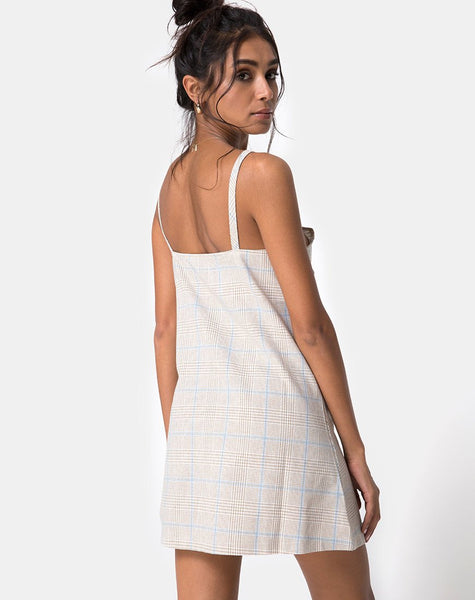 Esana Slip Dress in Tonal Plaid Almond by Motel