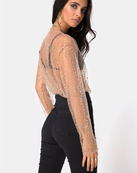 Ether Longsleeve Top in Gold Glitter on Net Tan by Motel