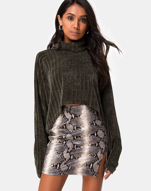 Evie Cropped Sweater in Khaki Chenille by Motel