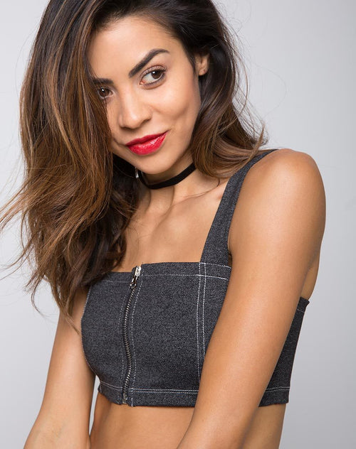 Fallon Crop Top in Denim Black by Motel
