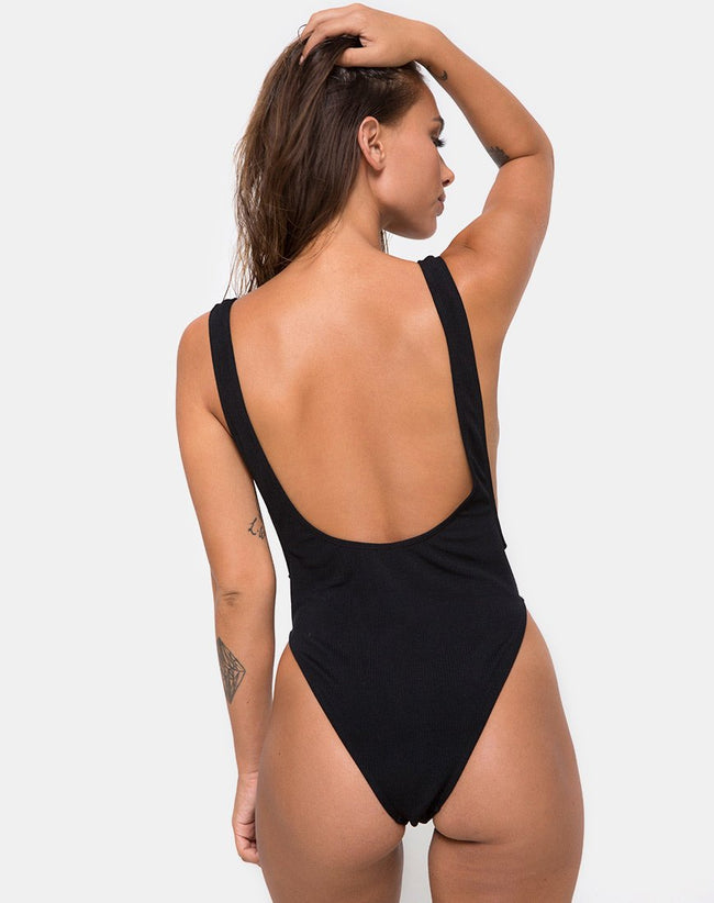 FARICA SWIMSUIT MINI RIB TEXTURED ONYX