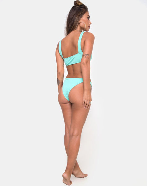 Febe Bikini Bottom in Mini Rib Mint By Motel