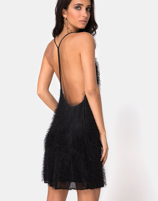Finn Slip Dress in Fringe Black by Motel