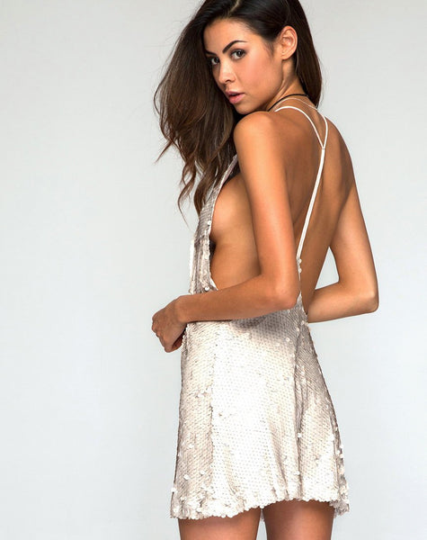 Finn Slip Dress in Shell Sequin Nude by Motel