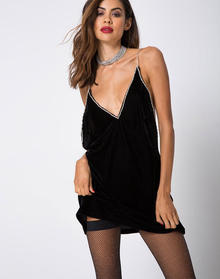 Lucine Dress in Velvet Black by Motel
