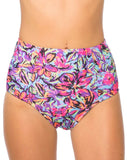 Motel Flux Longline Bikini Bottom In Fluro Flower