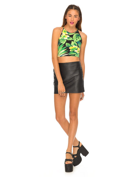 Motel Folly Strappy Crop Top in Tropical Hawaii Green
