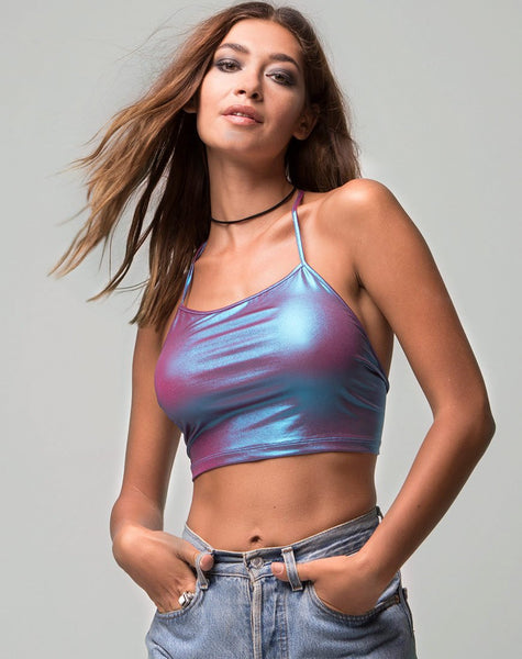 Fonda Crop top in Metallic Opal Shimmer by Motel