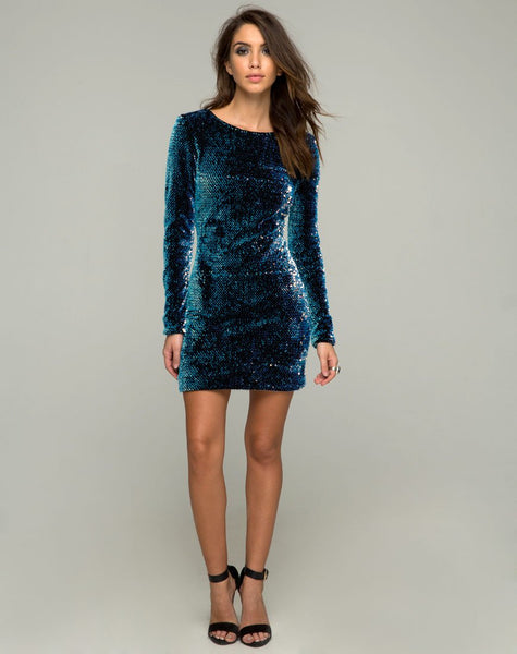 Gabby Plunge Back Dress in Iridescent Opal Shine Sequin by Motel