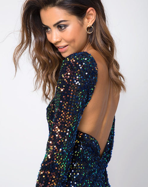 Gabriella Dress in Prism Shine Sequin by Motel