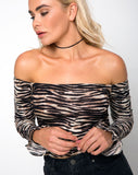 Gaga Off The Shoulder Crop in Tiger by Motel