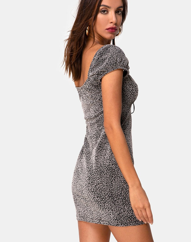 Gala Dress in Ditsy Leopard Grey Flock by Motel